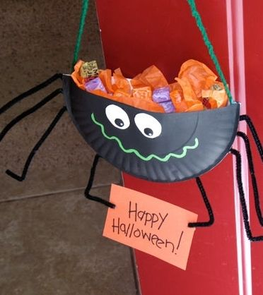 Paper Plate Spider Candy Holder Kids Craft