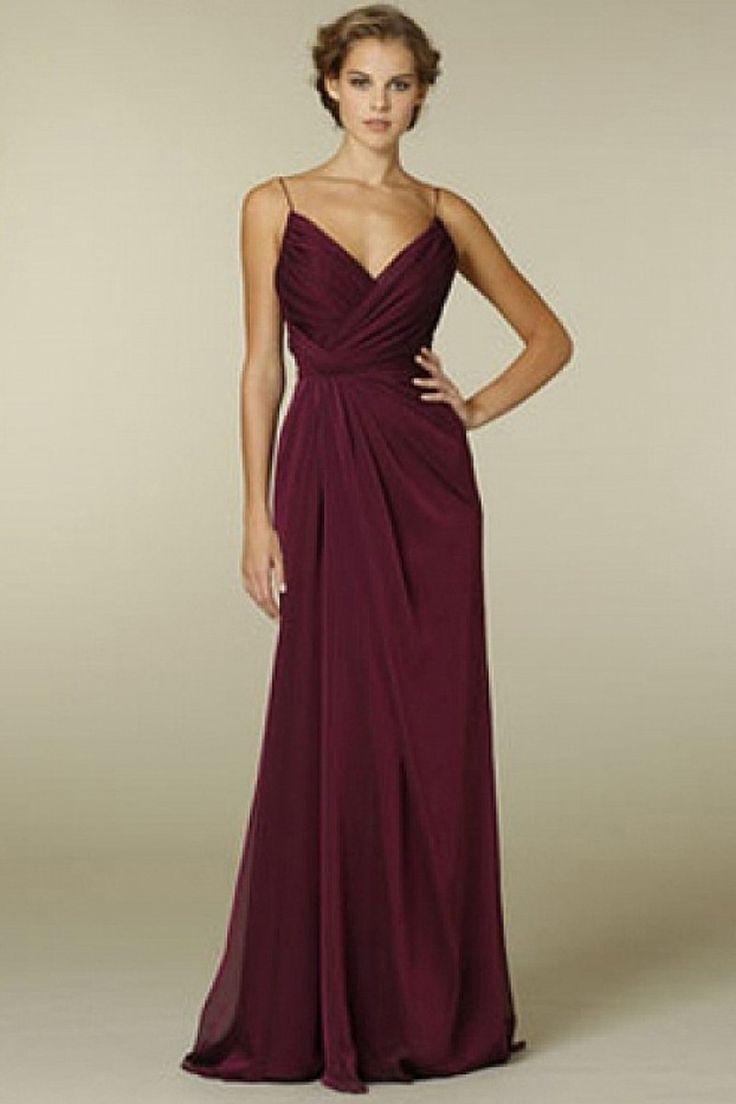OOH DESIGN  Pleated Chiffon Floor Length Sheath Bridesmaid Dress