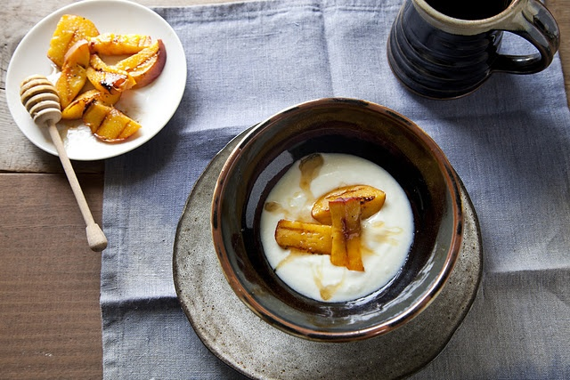 Plain yogurt with grilled peaches + honey. coffee · breakfast · no ...
