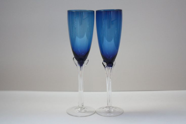 Vintage Hand Blown Sapphire Cobalt Blue Italian Champagne Flutes  Set of Two (2)…