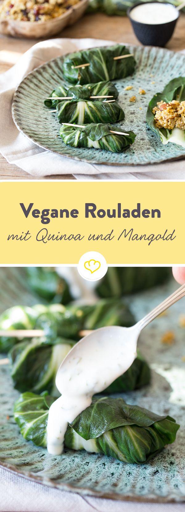 Ohne Fleisch, Geflüger oder sonstige tierische Produkte, aber mit ganz viel Geschmack. Die vegane Mangoldroulade hat es faustdick und lecker in der Füllung.