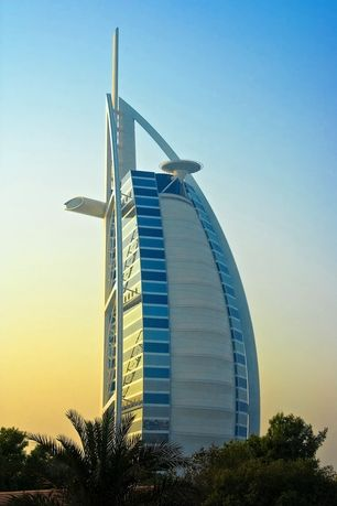 Rear view of the Burj Al Arab hotel in Dubai which boasts a 7 star status. Equipped with a helipad and a fleet of Rolls Royces, the Burj...