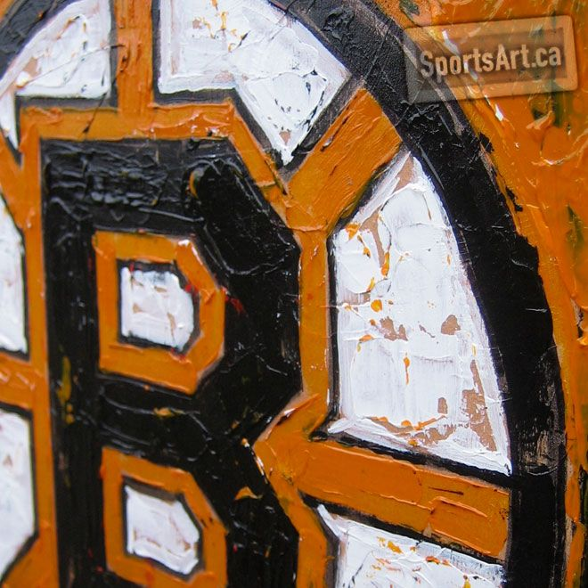 Original Six, Black and Gold, Iconic. Rich texture and thick paint are used to pay tribute to the Boston Bruins.
