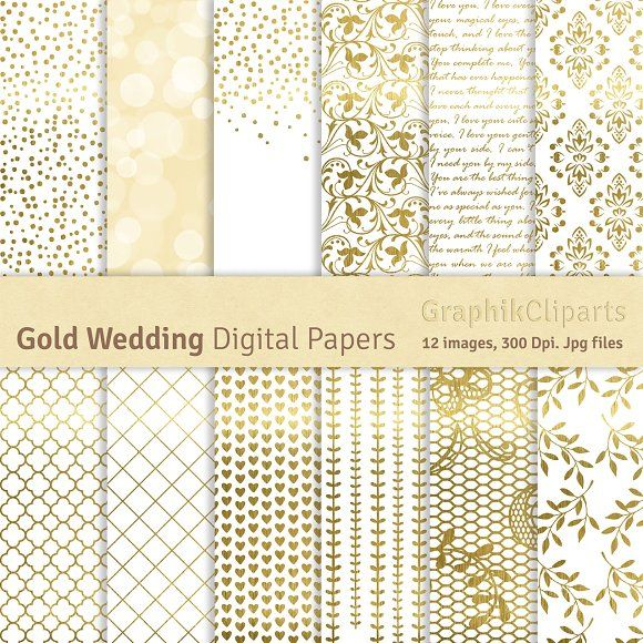 20% OFF-Gold Wedding Digital Papers by GraphikCliparts on @creativemarket