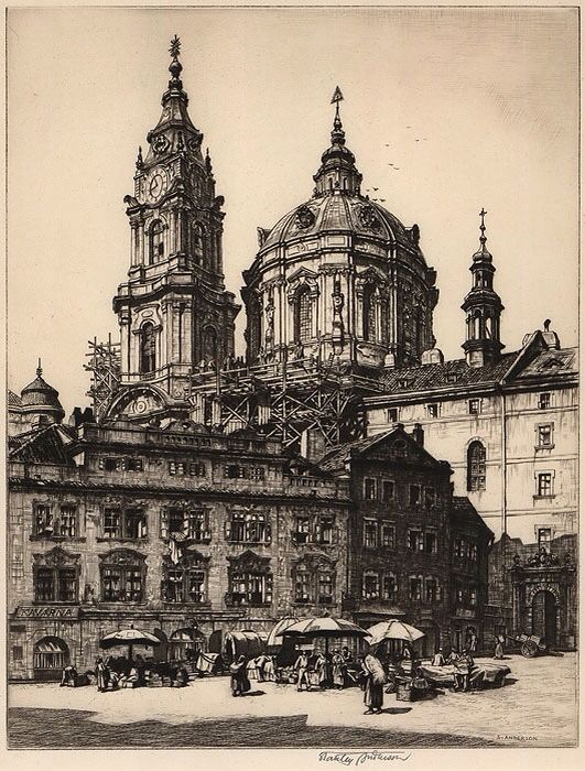 """Stanley Anderson (British) 1884-1966 'St Nicholas, Prague,' c1920s. Etching, signed in plate lower right, signed, titled and annotated """"edition 85 proofs"""" 29.2 x 22.5cm."""
