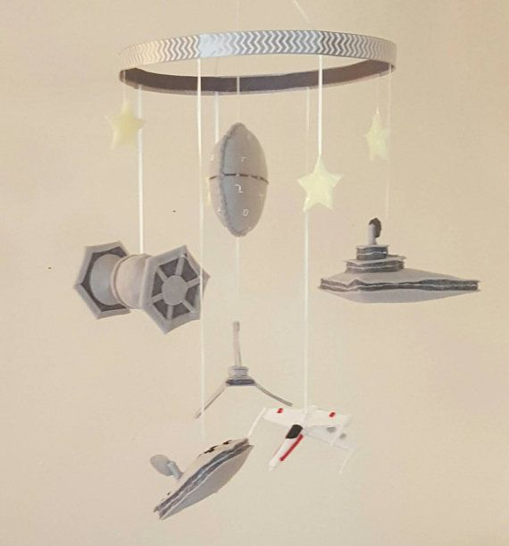 DUN DUN DUN DUN DA DUN DUN DA DUN! Want your baby to dream of stars? What about wars that happen to take place in the stars? This mobile is handmade and it has that homemade charm. It includes such favorite and recognizable ships as the Tie-Fighter, an X-wing, Darth Vader's transport ship, Death Star, …
