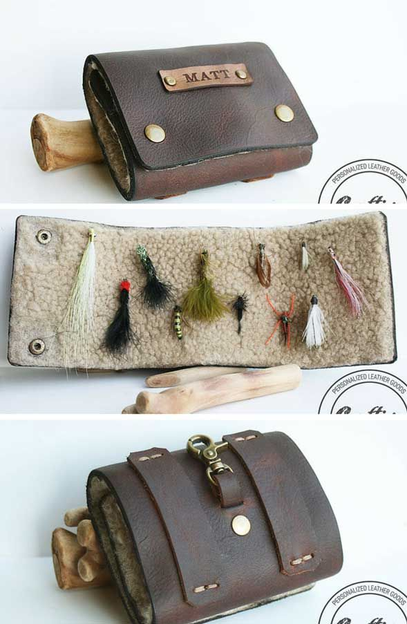 Personalized Fly Fishing Flies Wallet - The perfect 3th Anniversary Gift for Him