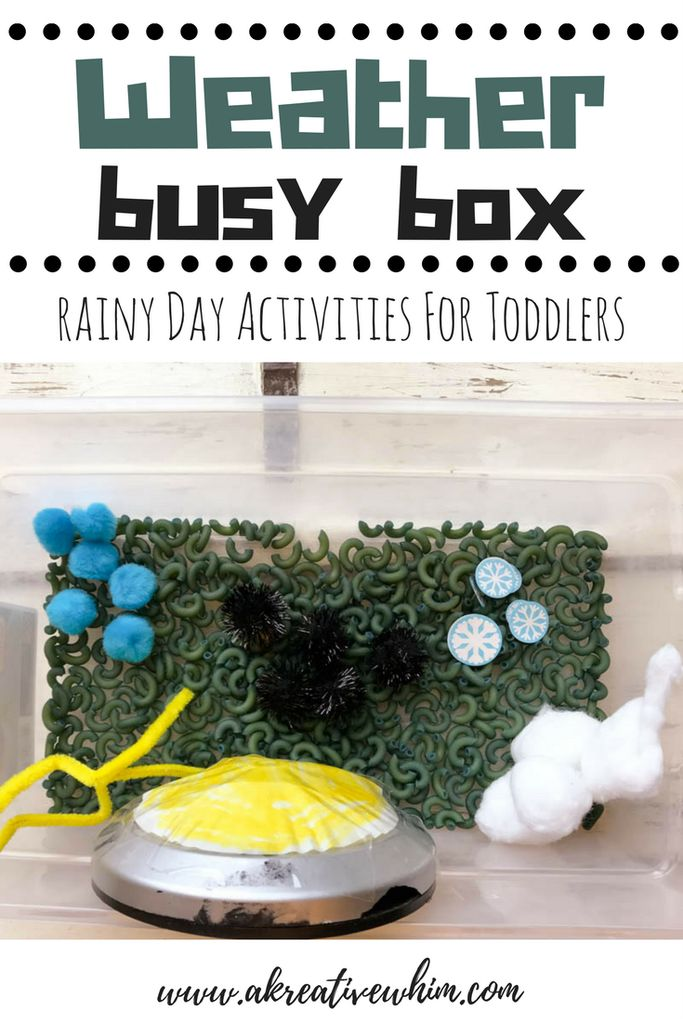 weather busy box - www.akreativewhim.com - rainy day sensory box for toddlers