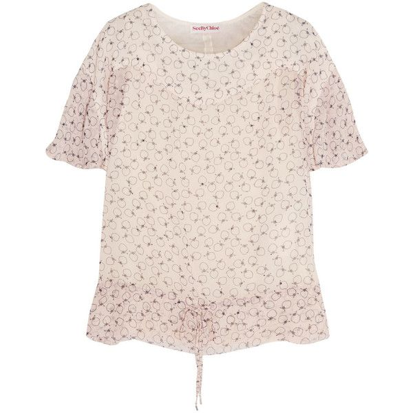 See by Chloé Blusa printed Swiss-dot chiffon top (8.775 RUB) ❤ liked on Polyvore featuring tops, neutral, cami top, see by chloe top, chiffon camisole, pink camisole top and pink camisole