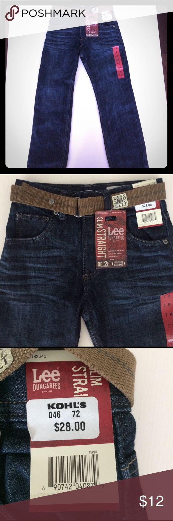 Lee Dungarees boys jeans New with tags, never worn. Boys size 7 with removable easy snap belt Lee Bottoms Jeans