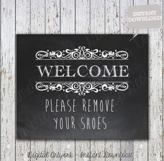 Please Remove Your Shoes Sign Printable - Shoes Off - Chalkboard - Digital Printable File