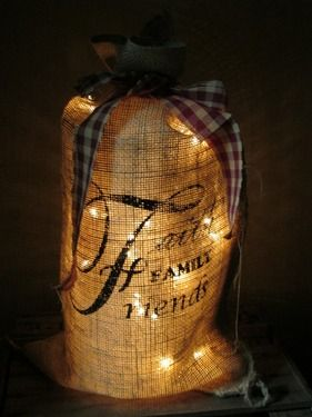 12in x 20in Burlap Light Sack Faith Family Friends :: Burlap Light Sacks :: Burlap :: Wholesale Country Primitive Gifts/ Kp Home Collection
