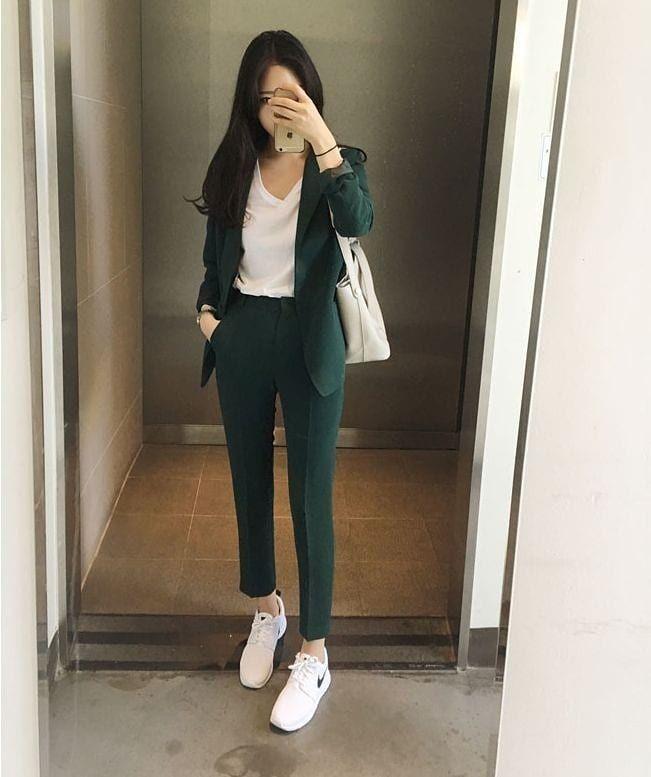 Women Soft Wear Vintage Style Winter 2021 Sweet K Pop Amazon Tiktok Highschool Pantsuits For Women Work Outfits Women Fashion Inspo Outfits