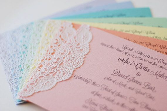 Custom Pastel and Lace Doily Invitations - Shabby Chic - Handmade - Wedding - Baby or Bridal Shower  - Engagement Party via Etsy
