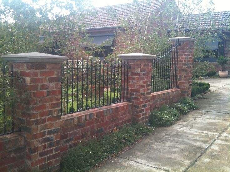 110 best wood and brick fences images on pinterest for Brick and wrought iron fence designs
