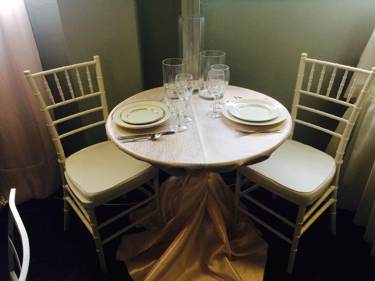 Sweetheart Table Idea. Blush Shantung Luxury Linen. Cylinder Vase Trio.  White Chiavari Chairs