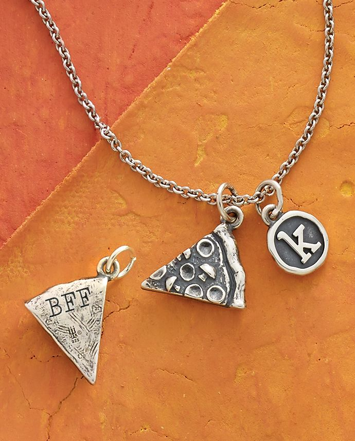Summer Collection - Pizza Slice Charm, Vintage Type Charm shown on Light Cable Chain #JamesAvery