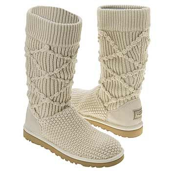 Ugg Classic Knit Boots Creme Size 6
