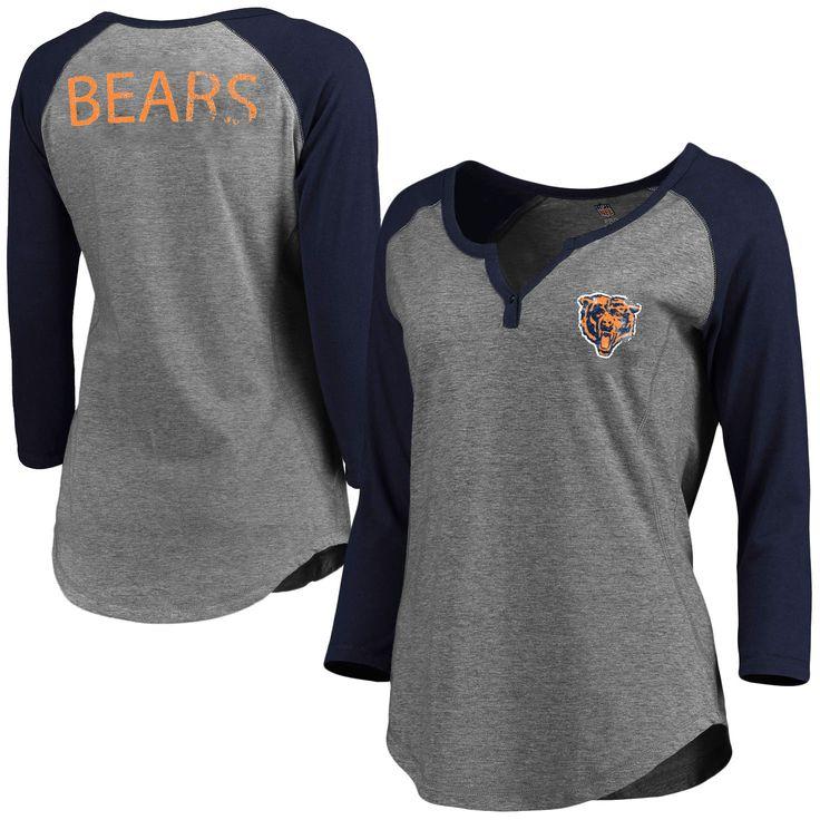 Chicago Bears Pro Line Women's Philips Henley 3/4-Sleeve T-Shirt - Gray - $35.99