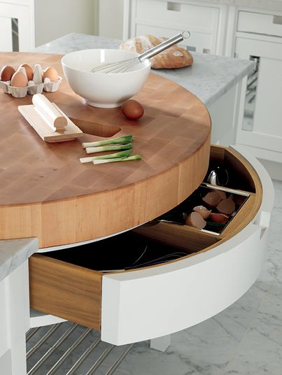 Love this design idea from Smallbone. Thick end-grain chopping block and waste chute with stainless steel liner