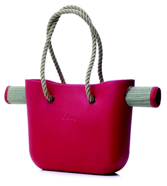 """OBCH02-FB   Obag - Beach Bag  - Red w/Rope Handles. This version of the Fullspot O bag has a natural shade rope handle made from high-quality nautical-grade, soft touch, pre-stretched spun polyester with a red, EVA body and includes a roll-up beach mat. Bag Dimensions: 15.5w x 12h x 5.5""""d    Mat Dimensions: 2'w x 5'7""""l"""