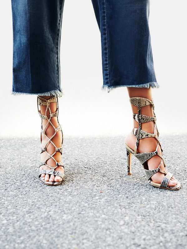Snake Print Lace Up Heels.