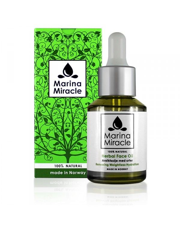Marina Miracle Herbal Face Oil er en norskprodusert ansiktsolje som passer de fleste hudtyper. Fylt med rene oljer, urter, antioksidanter og vitaminer balanserer oljen kombinasjonshud og fet hud, fjerner akne og uren hud, lindrer sensitiv hud og motvirker fine linjer.   Oljen beskytter og binder hudens fuktighet, glatter ut og gjør huden fløyelsmyk uten å være fet eller tette porene.