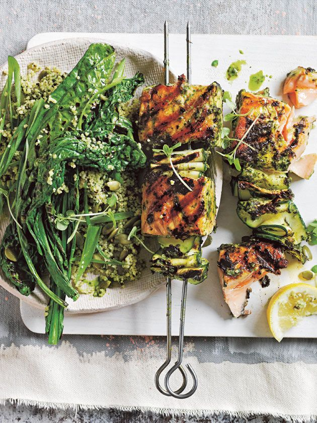 Pesto salmon skewers with green couscous salad | Donna Hay
