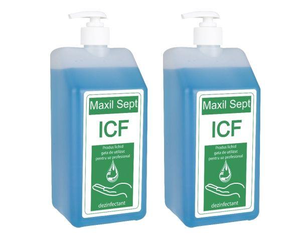 Produsul Maxil Sept ICF sub forma de gel, dezinfecteaza mainile fara a le lasa lipicioase.