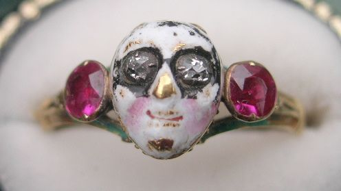"18th Century French Ring with enamel carnival mask. Inside is the message ""Pour Vous Tout Seule"" (""For You All Alone"")"