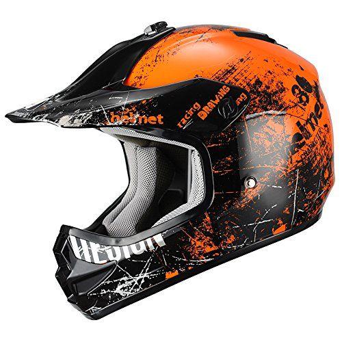 Triangle Glossy Orange Sport ATV, Motocross, Dirt Bike Youth Motorcycle Helmet [DOT] (Small)