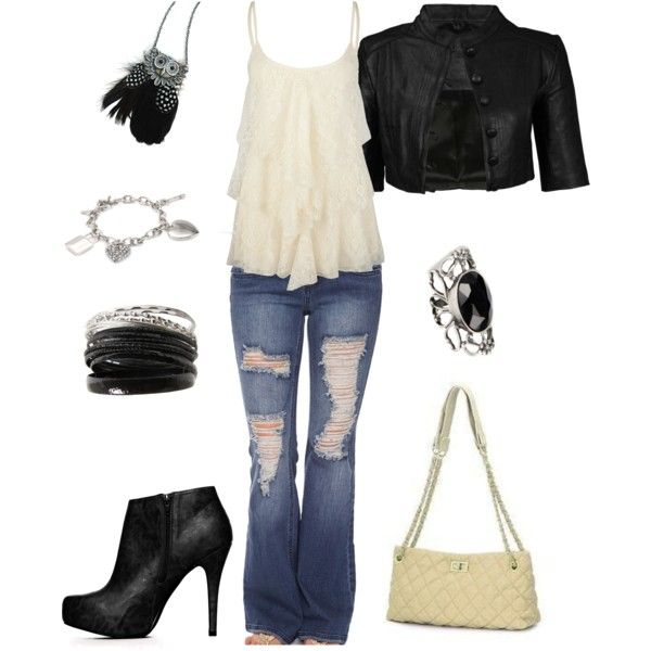 sweet biker chic. beige and black.