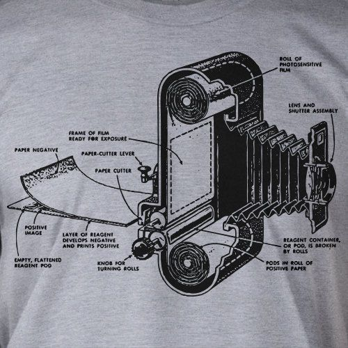 Vintage Antique Film Camera Printed on a New Screen Printed T-Shirt Mens Ladies Womens Youth Kids Funny Photography Camera Geek. $14.99, via Etsy.