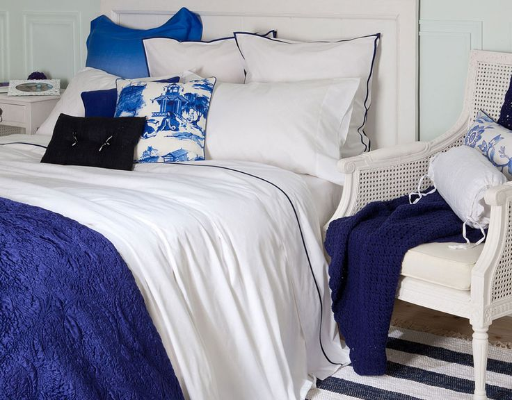 Zara Home Bedding. I love the faded blue-white pillow