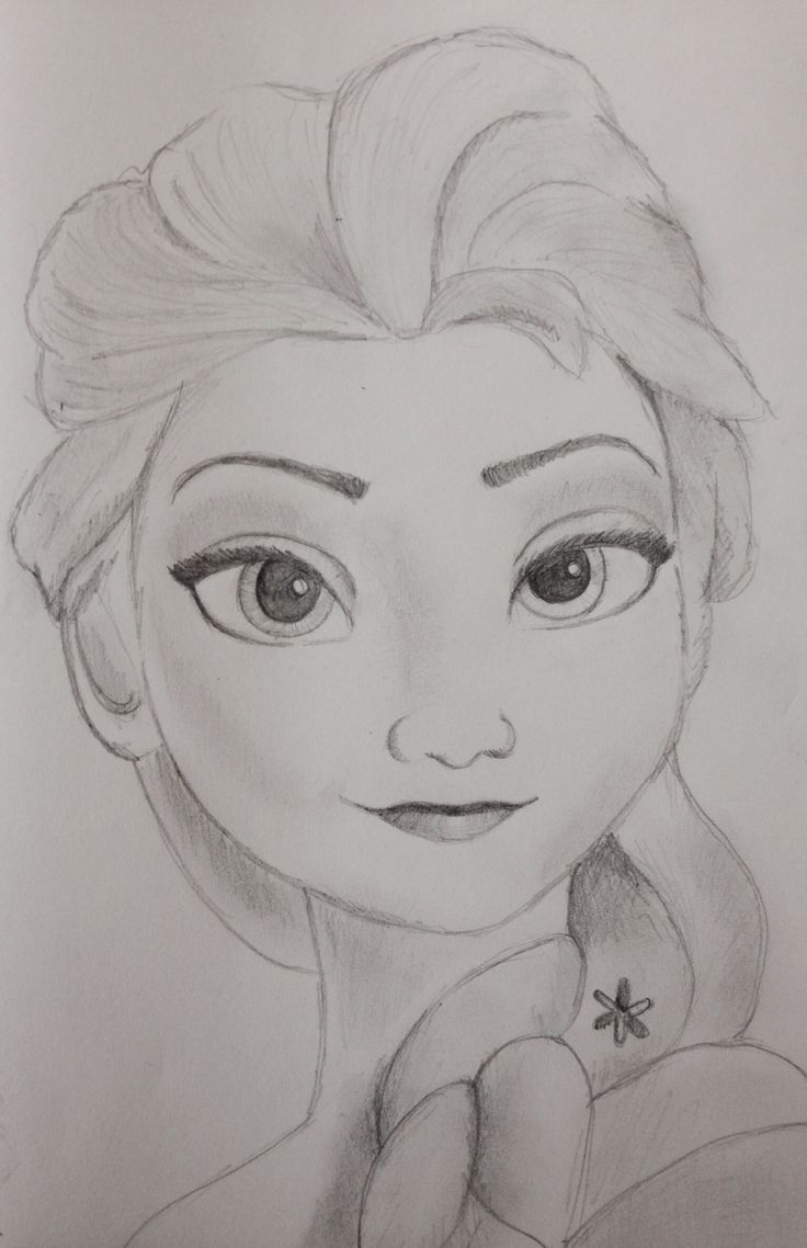 Elsa Frozen Disney Princess Pencil Sketch