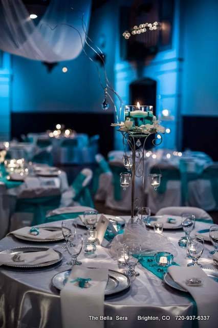blue and platinum Wedding Table Settings | Bellissimo Platinum Wedding Package - Bella Sera Event Center
