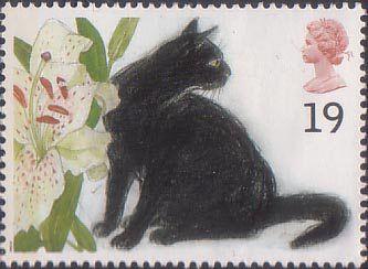 Sophie (black cat)   British postage stamp 1995 (by Elizabeth Blackadder).