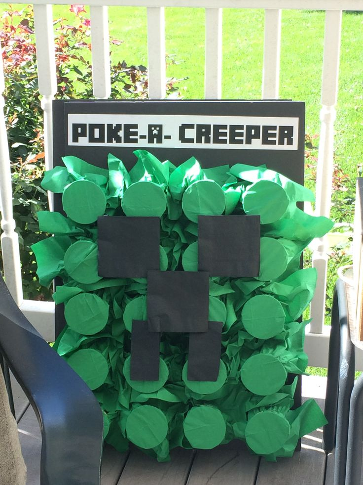 Poke-a-creeper game. Each cup was filled with a prize. The kids poked their fingers into the cup and found things like fake mustaches, gems, bubbles, etc.