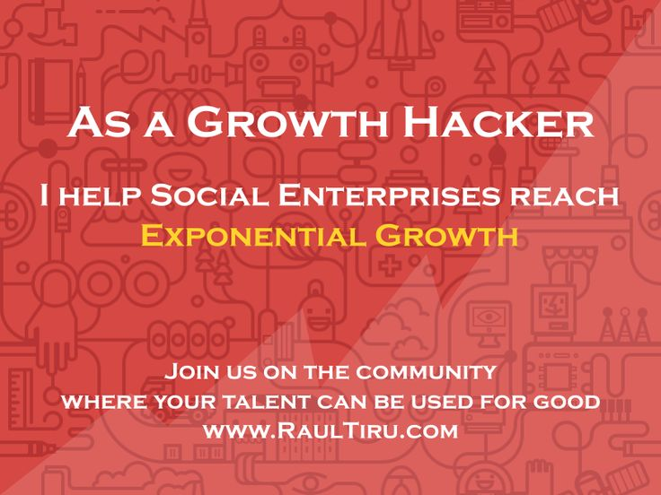 As a Growth Hacker, I help Social Enterprises reach Exponential Growth.  Join us on the community where your talent can be used for good http://www.raultiru.com  #Marketing   #growthhacker   #digitalmarketing   #onlinemarketing