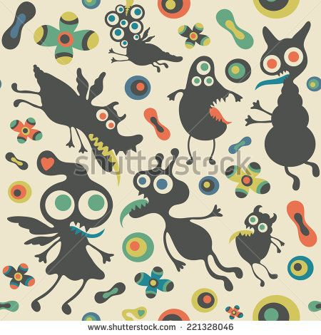 Retro seamless pattern with happy monsters. #monsters #monsterillustration #vectorpattern #patterndesign #seamlesspattern