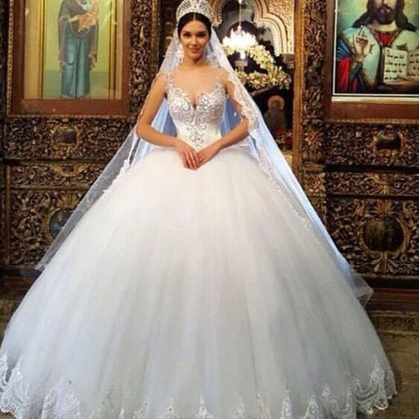 Arabic Ball Gown Wedding Dresses Princess Sheer Neck Beaded Puffy Lace Church Bridal Gown Plus Size Romantic Cinderella Wedding Dresses 2019 Princess Ball Gown Ball Gowns Wedding Princess Wedding Dresses