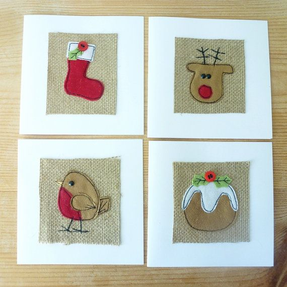 Applique Christmas stocking textile card by MinXtures on Etsy