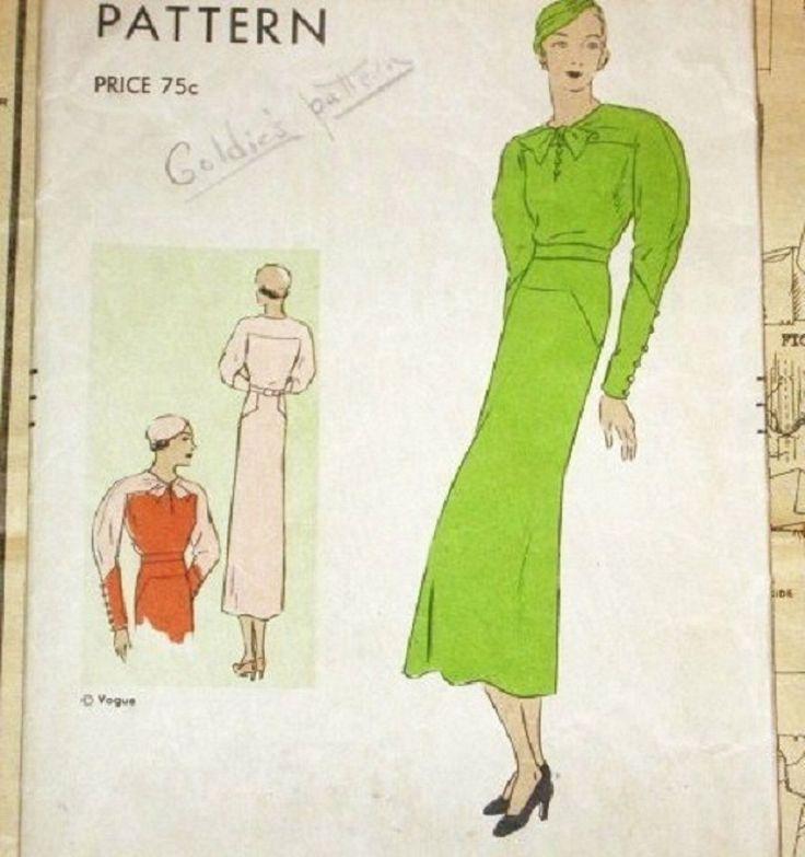 Vogue 6222 Vintage anni ' 30 Art Decò contrasto redingote vestito, gamba o montone maniche, anca e spalla giogo, Sewing Pattern busto 34 anca donna 37 di SewBohemian su Etsy https://www.etsy.com/it/listing/152651669/vogue-6222-vintage-anni-30-art-deco