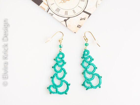 Green lace earrings tatting earrings dangle tatted by ElviraKrick
