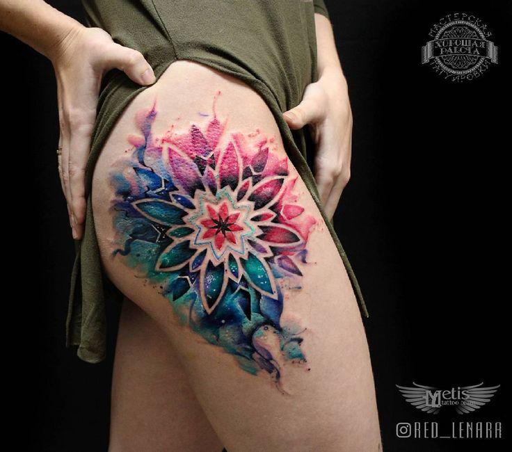 Watercolor mandala flower