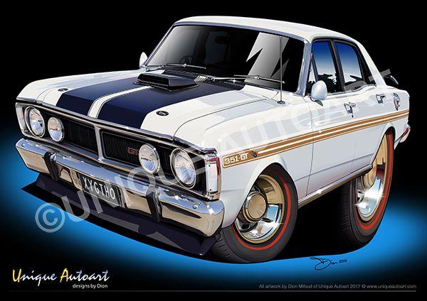 Xy Gtho Artwork Ford Drawings Unframed Car Prints Art Cars Garage Art
