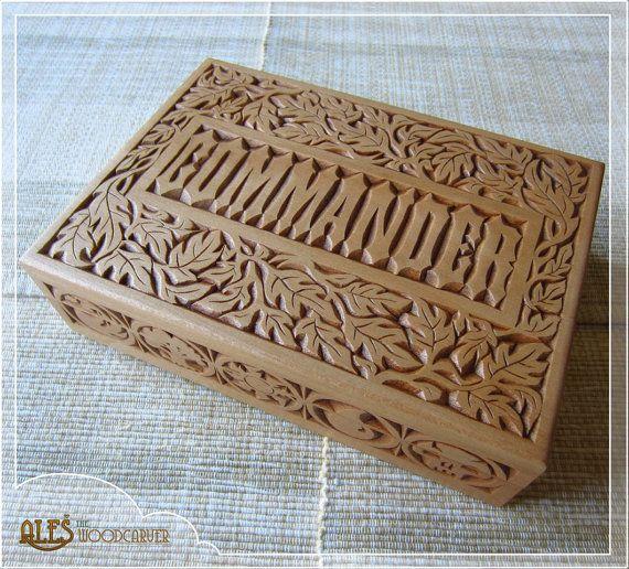 Magic the gathering card box chip carved mtg edh deck