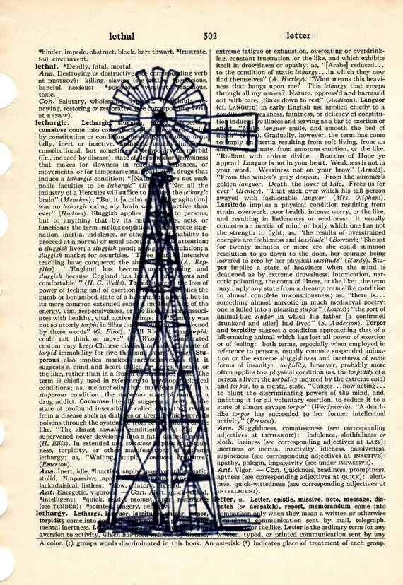 Old Windmill dictionary book page collage art by Txalteredart, $8.00