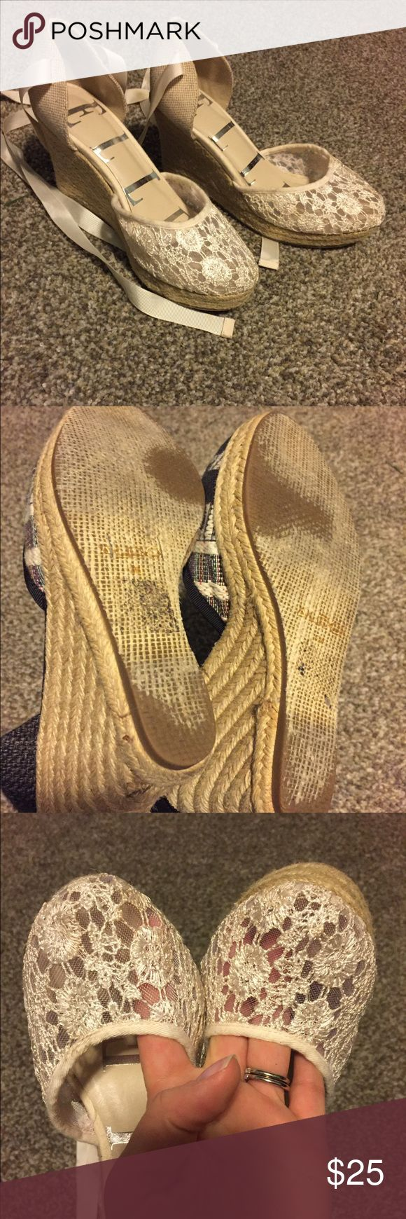 White lace espadrilles Worn twice elle Shoes Espadrilles