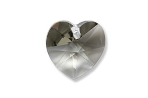 Swarovski® black diamond hearts 10mm, pk2